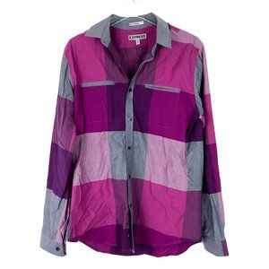 Express Checkered Purple Fitted Button Front Shirt